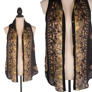 Brown Gold Black Small Scarf Sleeveless Blouse